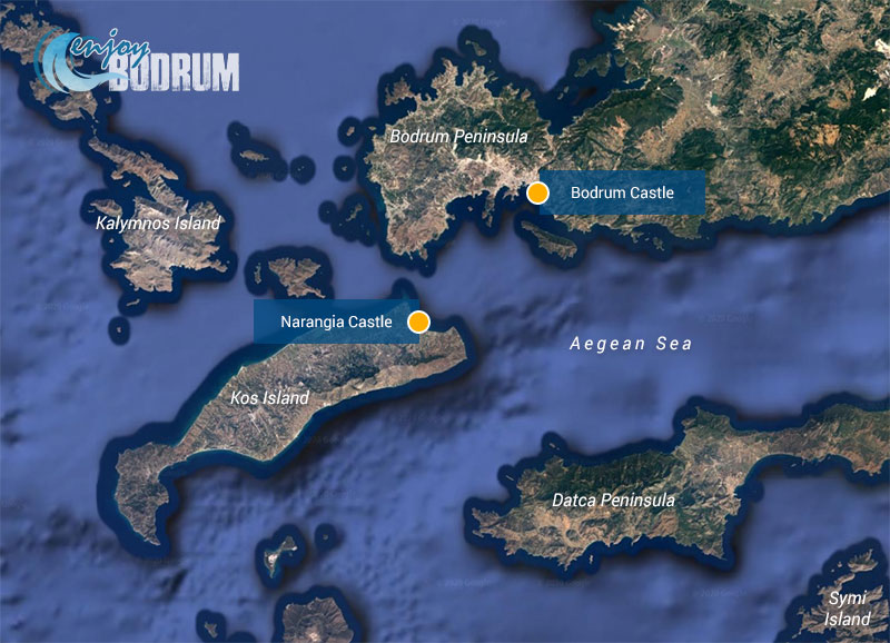 Locations of Bodrum Castle and Narangia Castle at Kos Island