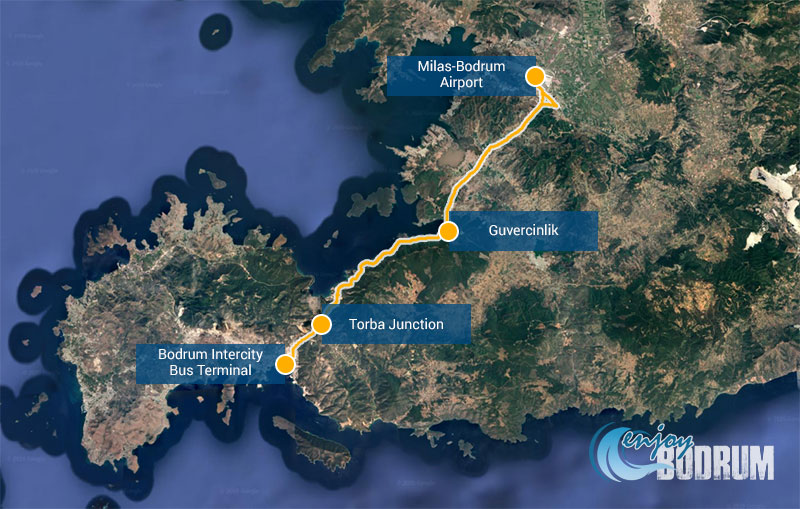 The route between Milas-Bodrum Airport and Bodrum Town centre