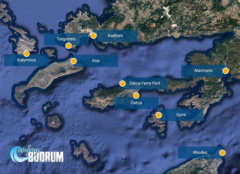 Ferryboat ports at nearby locations