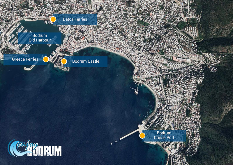 Location of ports in Bodrum