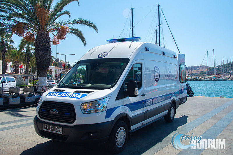 An ambulance at the Bodrum town centre