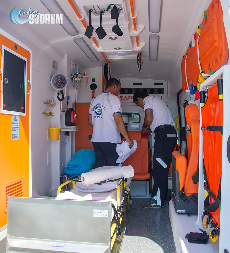Inside of an ambulance in Bodrum